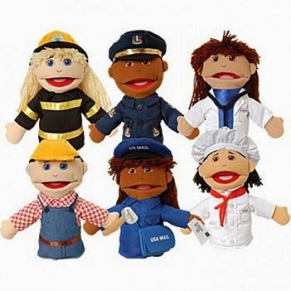 multi-ethnic career puppets