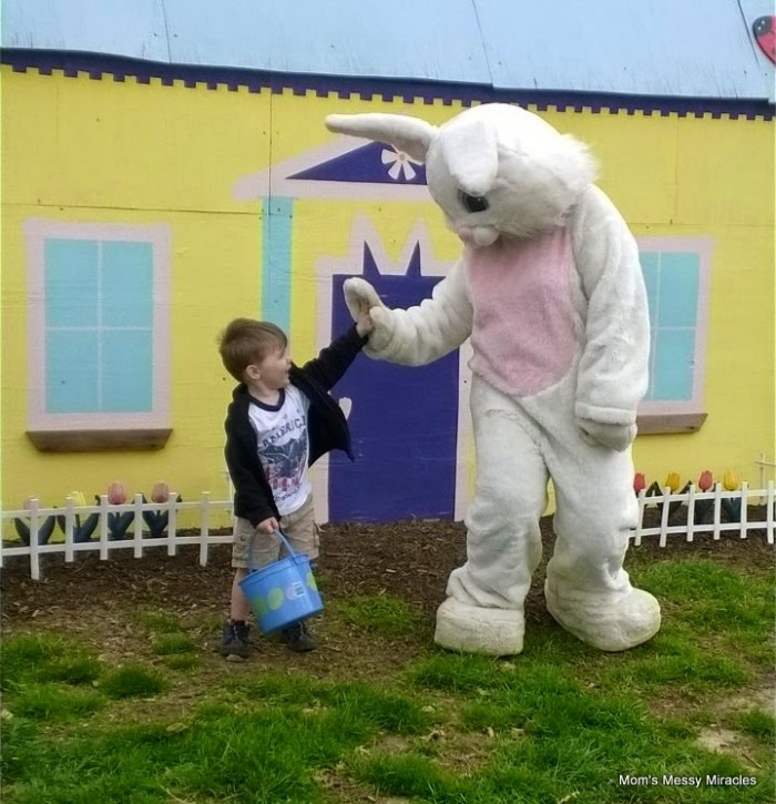 high fives for Easter bunny
