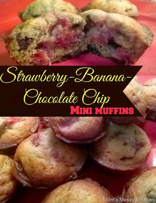 Strawberry Banana Choc Chip Mini Muffins