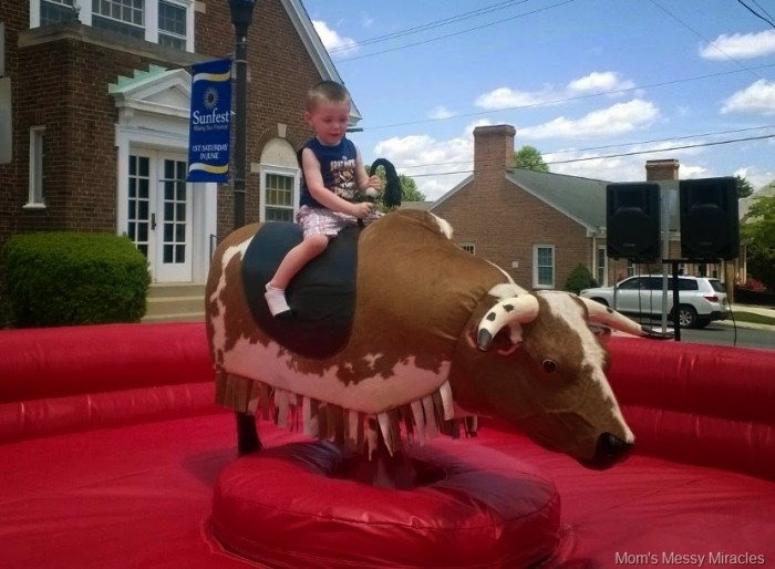 attempting to ride the bull