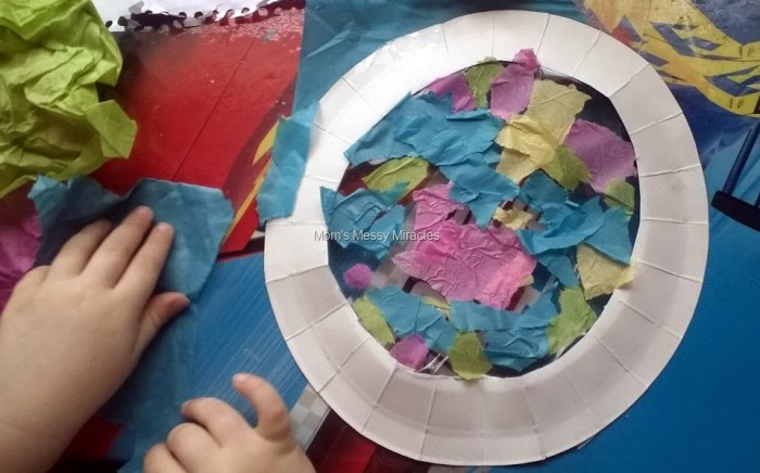 tissue on paper plate sun catcher