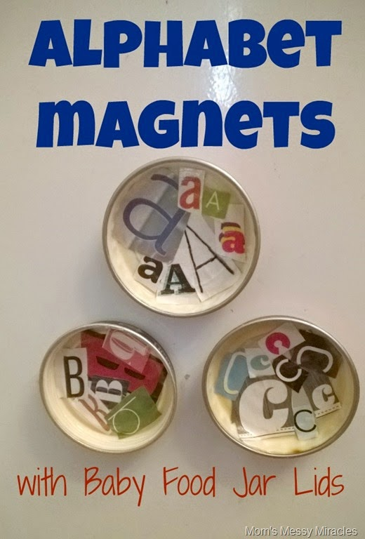 Alphabet Magnets with Baby Food Jar Lids