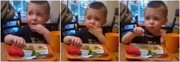 Charlie eating dinner WorldFoods