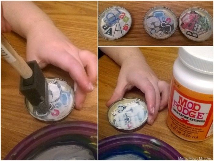 adding mod podge to magnets