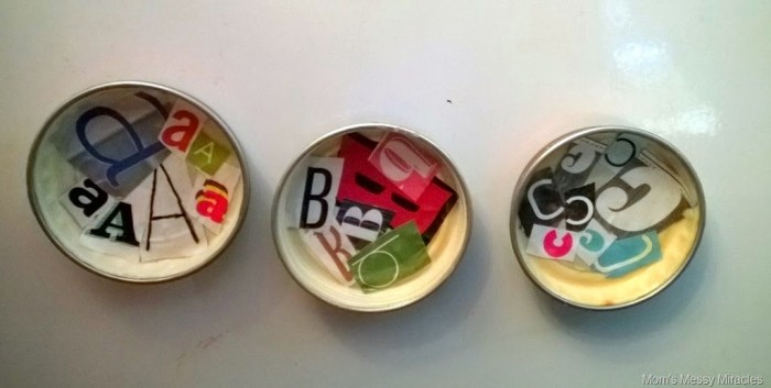 alphabet baby food jar lid magnets