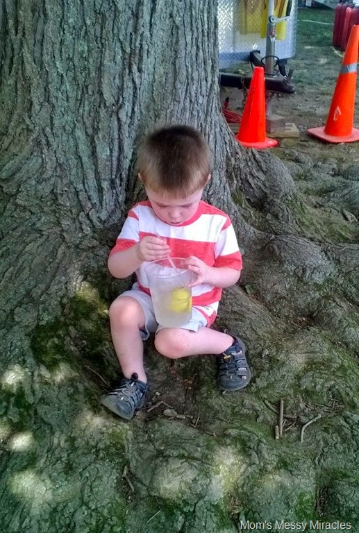 drinking lemonade at Seafood Festival