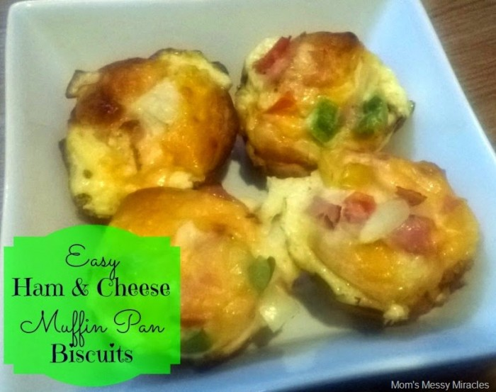 Easy Ham & Cheese Muffin Pan Biscuits