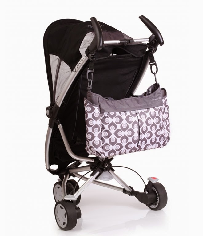 damask-metro-messenger-diaper-bag-white on stroller