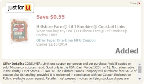 Hillshire Farm coupon Just for u