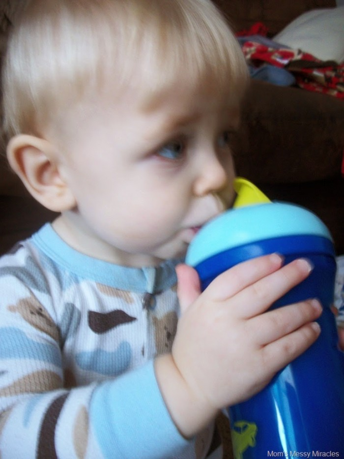 Owen drinking Tommee Tippee Straw Cup