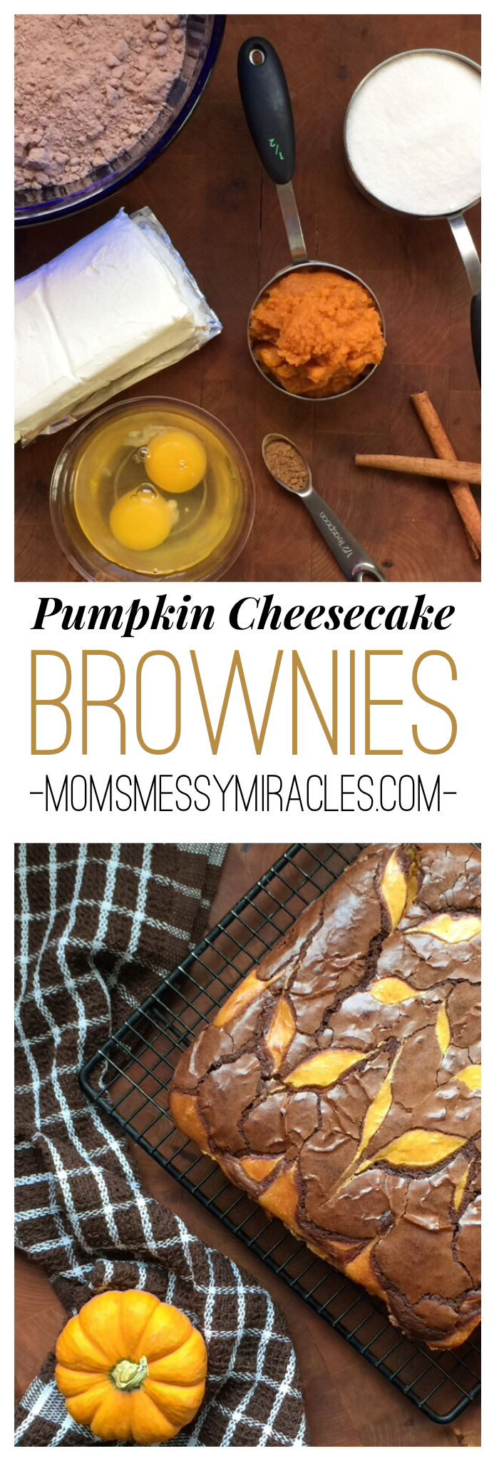 Pumpkin Cheesecake Brownies - Mom's Messy Miracles - These pumpkin cheesecake brownies are so easy and so yummy, you'll make a pan to share and one to keep for yourself.