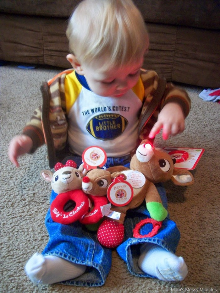 Owen with Kids Preferred Rudolph Toys