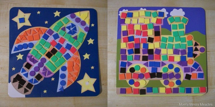 completed sticky mosaics