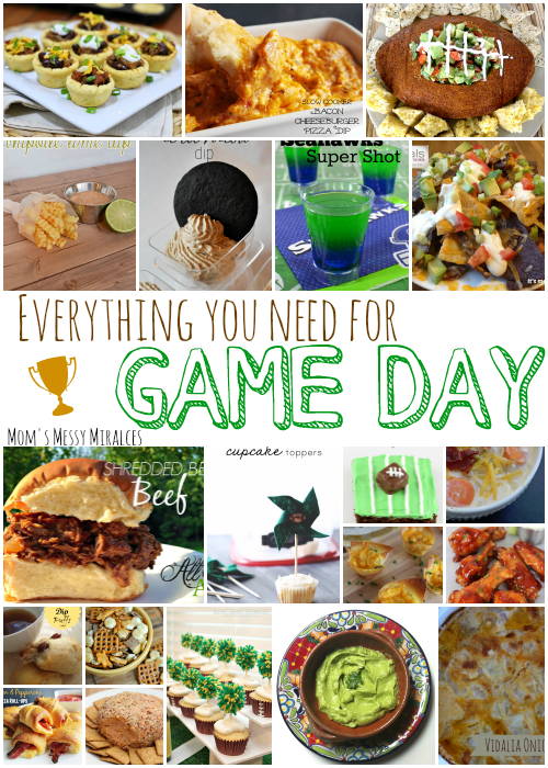 We gathered everything you need for the Big Game! You'll find dips, desserts, decorations, finger foods, and more!