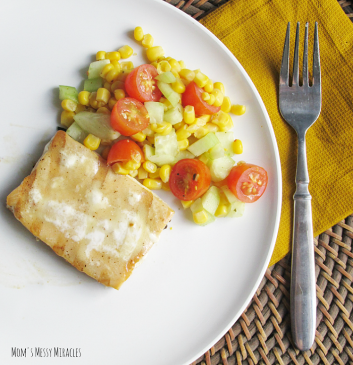The perfect light lunch or dinner: Gorton's Seafood Grilled salmon with corn, cucumber & tomato salad.