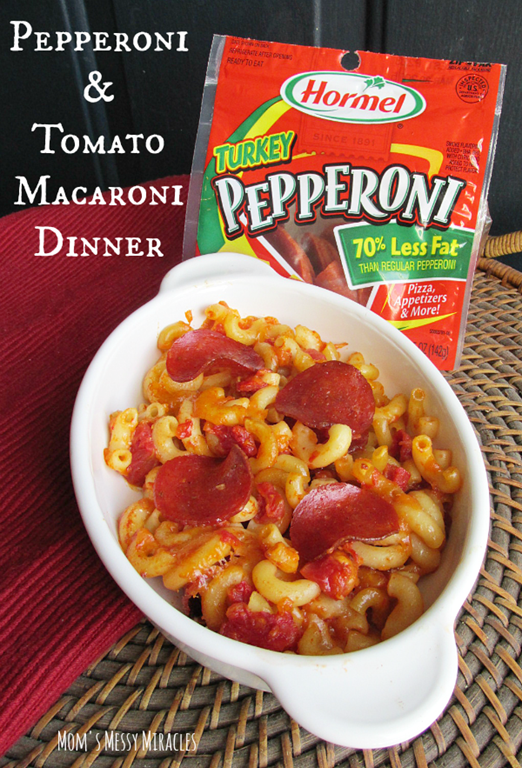 Pepperoni Tomato Macaroni Dinner using Hormel Pepperoni is a favorite comfort food using items we have in the pantry and the fridge at all times! #HormelFamily