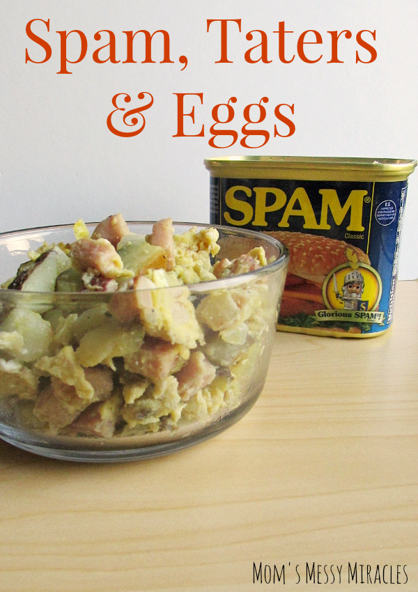 Spam Taters & Eggs is definitely a comfort food breakfast or a great breakfast for dinner!