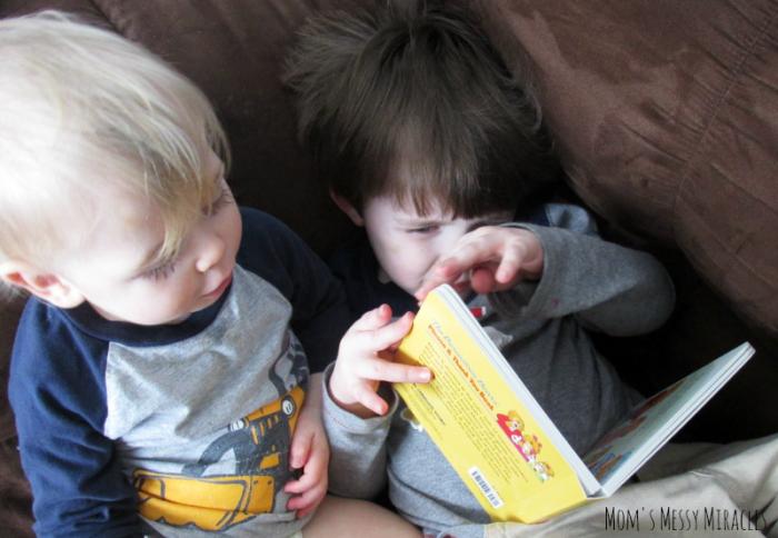 boys reading Berenstain Bears' Please & Thank You