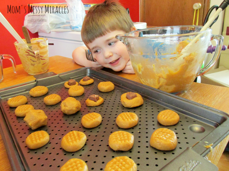 Charlie making Salted Caramel Peanut Butter Cookies