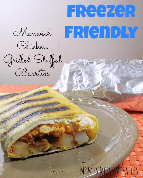 Freezer Friendly Manwich Chicken Burritos
