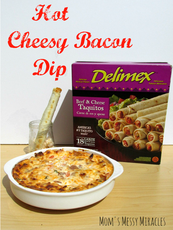 Hot Cheesy Bacon Dip tastes great with taquitos or chips!