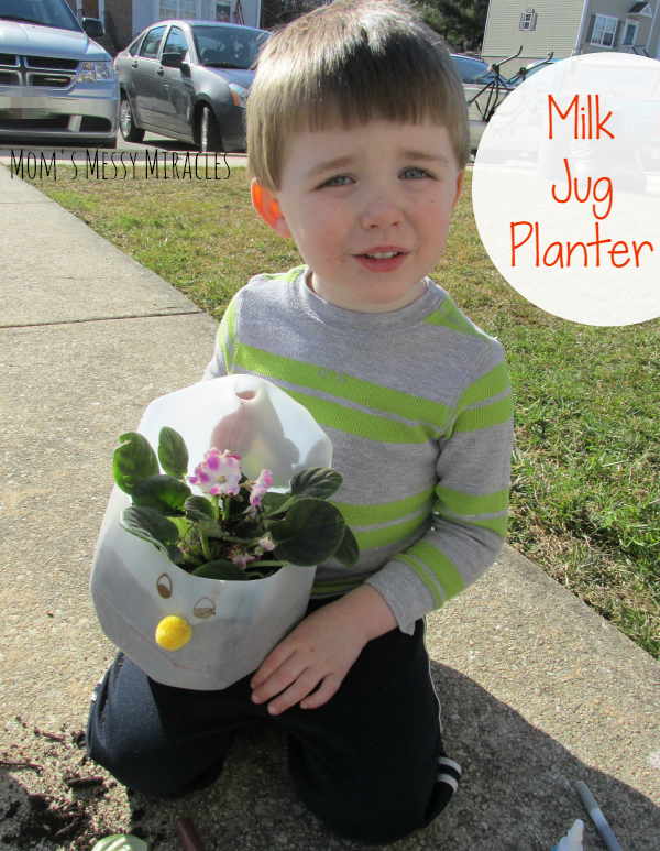 A Milk Jug Planter is a great way to get your preschooler involved in recycling!