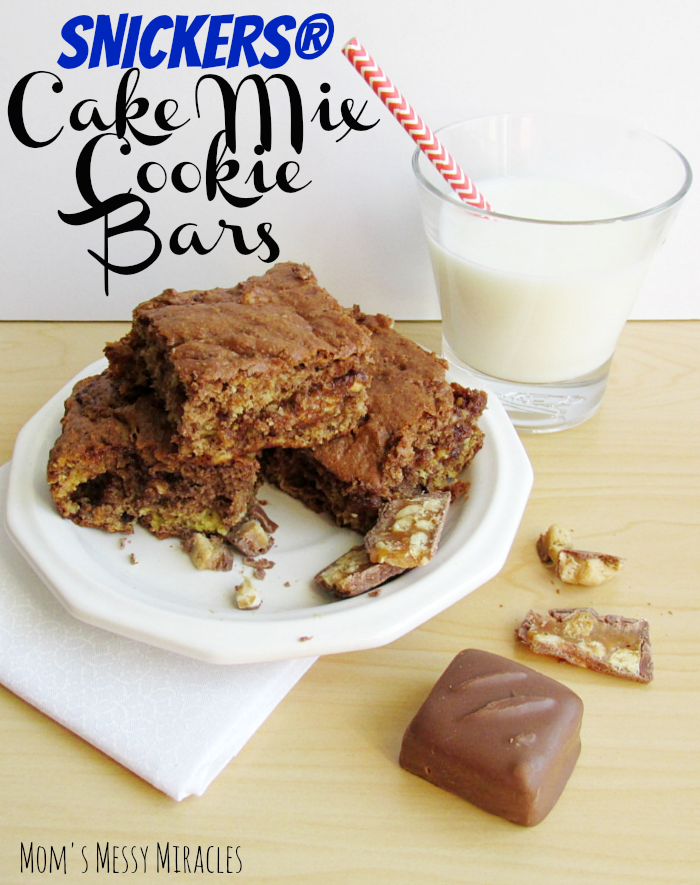 Snickers Cake Mix Cookie Bars and milk