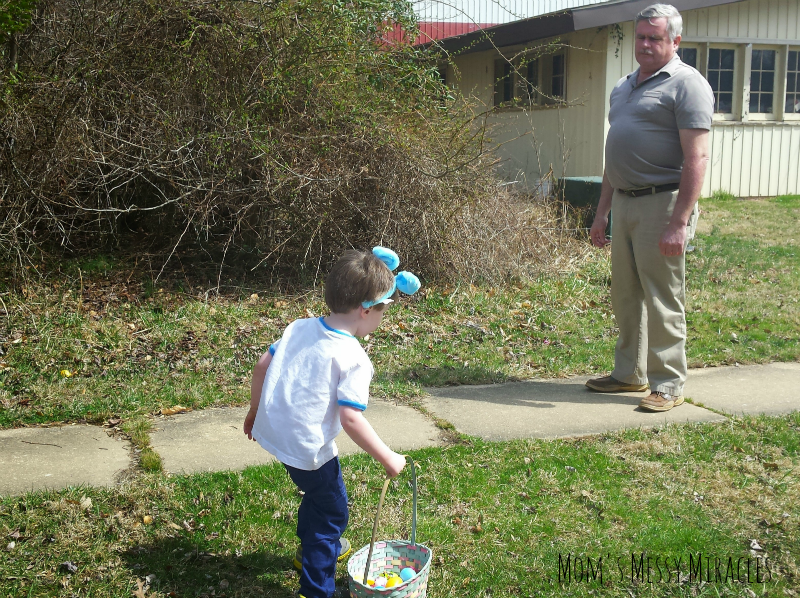 Charlie and Poppop Hunting Eggs