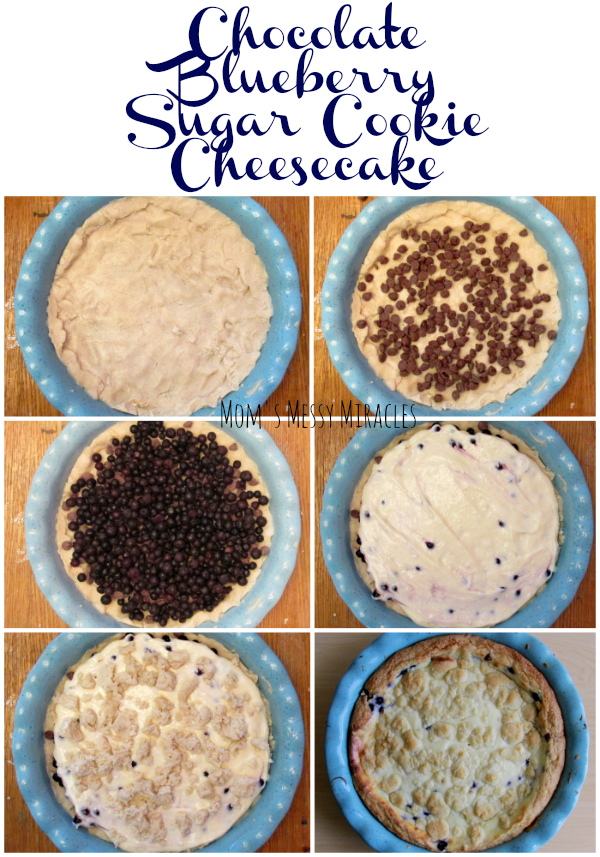 This Chocolate Blueberry Sugar Cookie Cheesecake includes wild blueberries, chocolate chips and sugar cookie! It will be a hit with everyone!