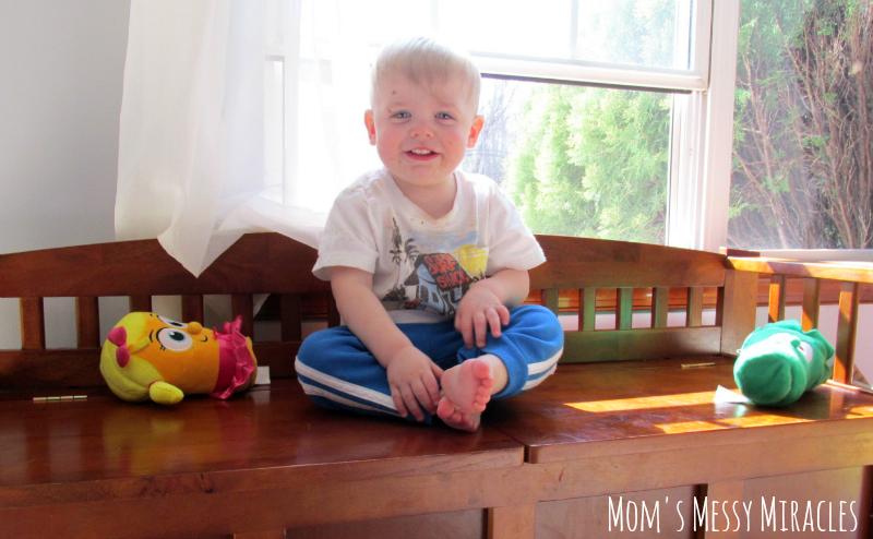 Owen with VeggieTales toys