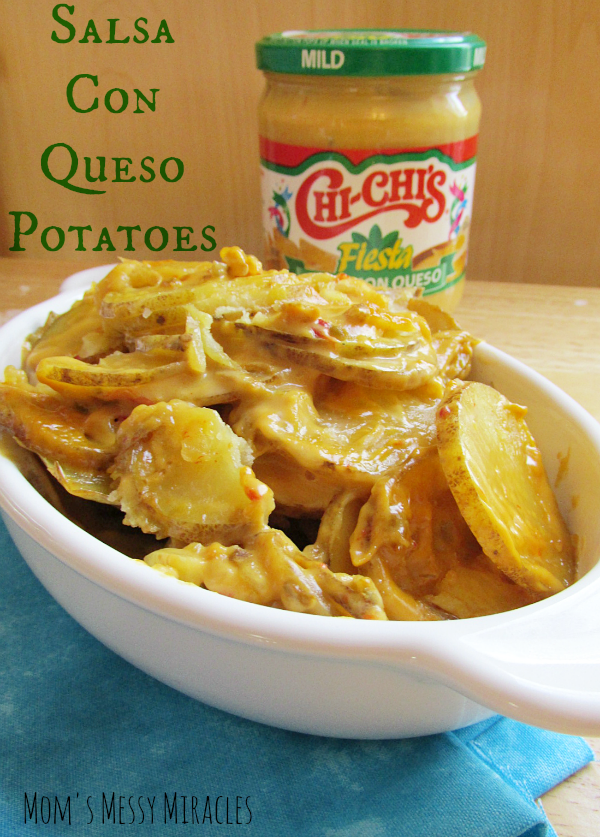 Potatoes made with Salsa Con Queso makes for an easy side dish using only 3 ingredients!