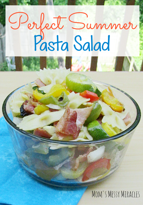 This is the perfect summer pasta salad! Bacon, fresh veggies and pasta!