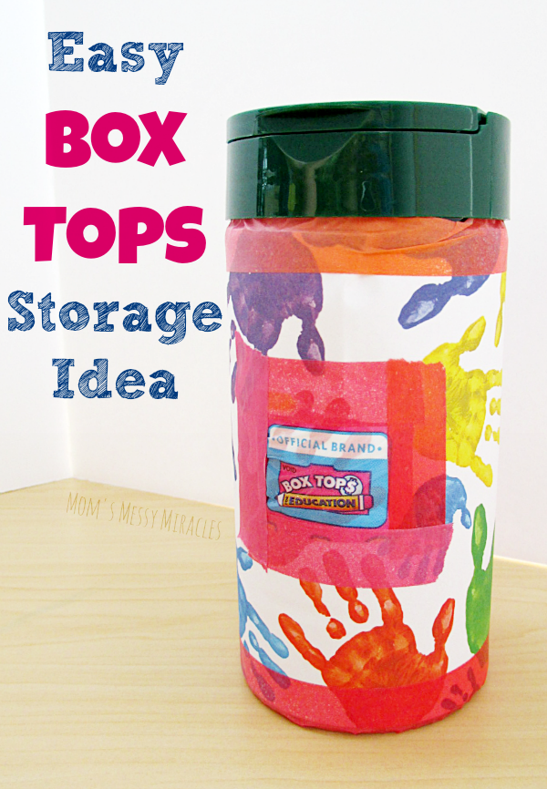 Easy Box Tops storage idea using a recycled container! Save them up to earn money for your school!