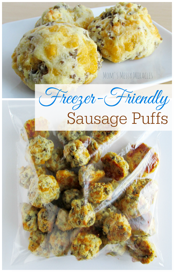 Freezer-Friendly Sausage Puffs take about 30 minutes to make 4 dozen!