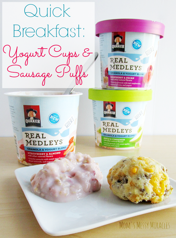 A super quick breakfast with our freezer friendly sausage puffs and a yogurt cup that just needs cold milk!