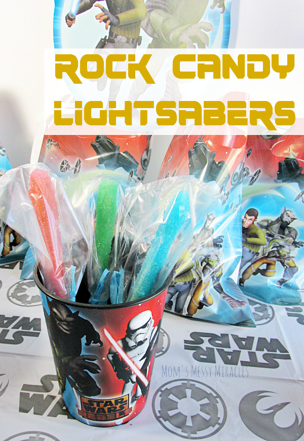 Rock Candy Lightsabers make the perfect party favor for a Star Wars Rebels birthday party!