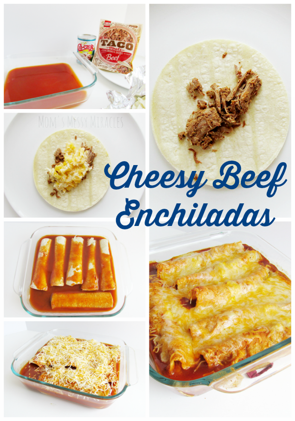 These Cheesy Beef Enchiladas are so quick and easy! Perfect for a weeknight dinner when you don't want to really cook!