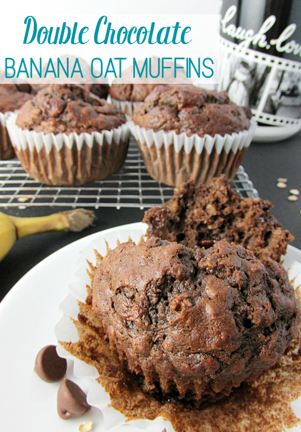 These Double Chocolate Banana Oat Muffins are a perfect quick breakfast or relax and enjoy your favorite morning beverage in a personalized mug!