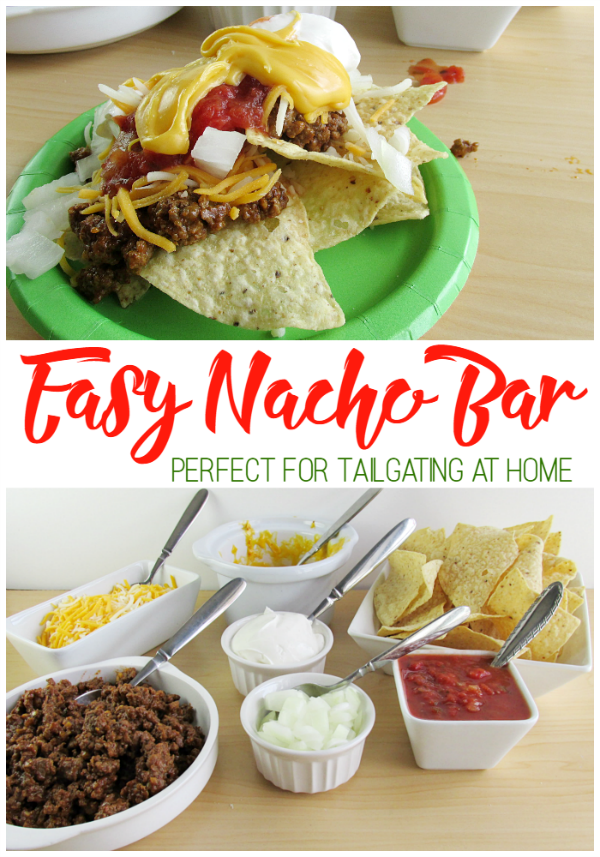 Easy Nacho Bar is perfect for tailgating at home. Everyone can create their own to enjoy during the football game!