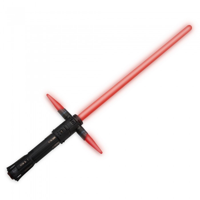 Kylo Ren Lightsaber - Star Wars: The Force Awakens. .Available at Disney Store.MSRP: $29.95.Available: September 4. .Step into the action of Star Wars: The Force Awakens when you wield our Kylo Ren Lightsaber featuring the mysterious villain's distinctive cross hilt blades, lights, motion-sensor sounds, battle-clash rumble and dueling effects.