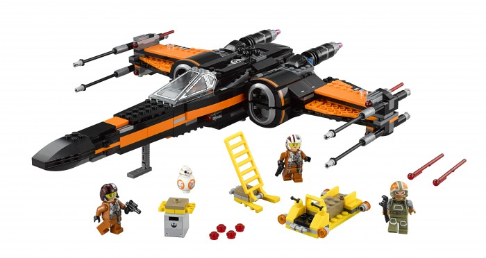 LEGO Star Wars Poe's X-Wing Fighter™ Licensee: LEGO MSRP: $79.99 Available: September 4 Battle the forces of the First Order with Poe's X-Wing Fighter. This customized starfighter is packed with features, like the 4 spring-loaded shooters, 2 stud shooters, retractable landing gear, opening wings, opening cockpit with space for a minifigure and space behind for the BB-8 Astromech Droid. There's even a loader with tool rack, extra ammunition, and a seat for a minifigure. So climb the access ladder, strap in and get ready to recreate your own great scenes from Star Wars: The Force Awakens! Includes 3 minifigures with assorted accessories: Poe Dameron, Resistance ground crew and a Resistance X-Wing Pilot, plus a BB-8 Astromech Droid.
