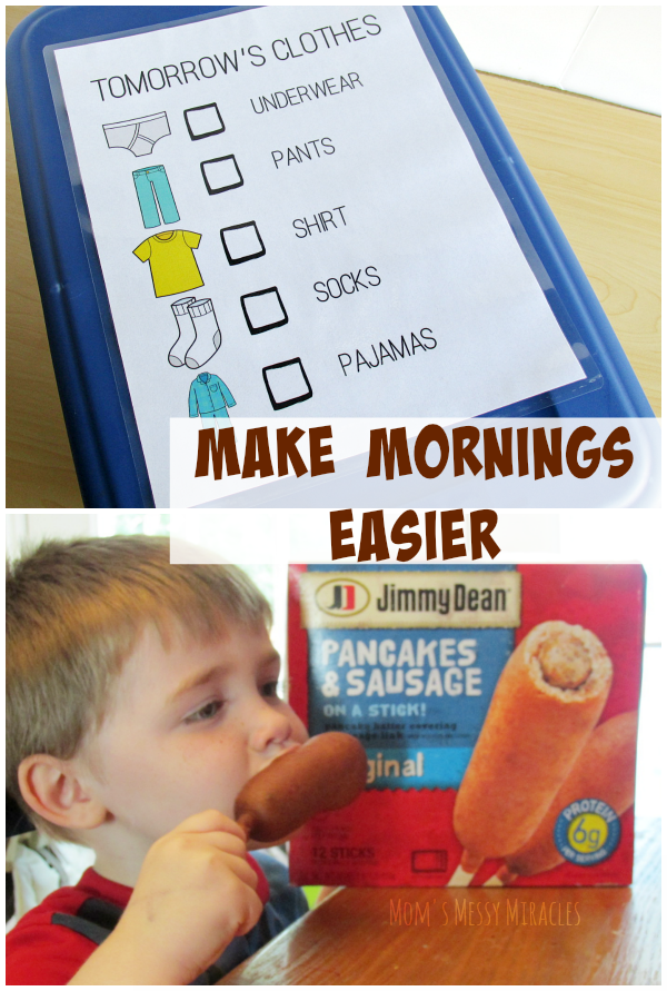 Make Mornings Easier by picking out clothes the night before and quick breakfast! Free printables included!