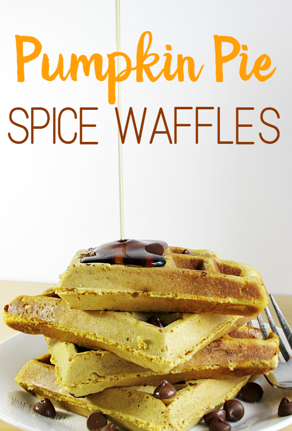 Pumpkin Pie Spice Waffles made with coffee creamer are heavy and delicious! They bring fall to your breakfast!