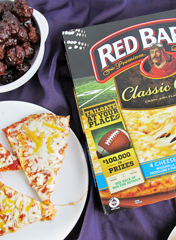 Looking for easy tailgate food that you can do at home? Pizza, slow cooker BBQ meatballs, and a frozen dessert pie make it super easy!