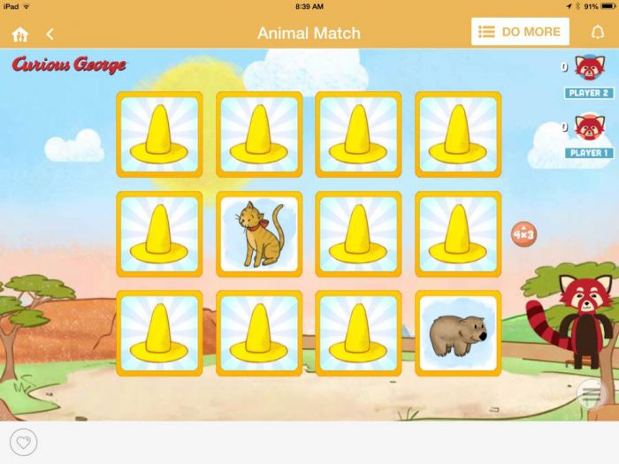 Curious George game on HomeTeam