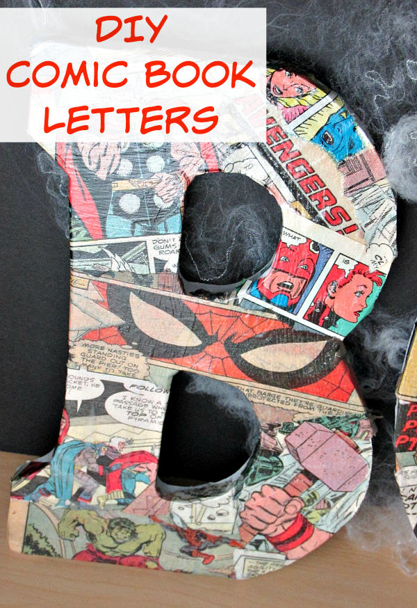 DIY Comic Book Letters - If you're looking to add a little more superhero to your life, make these easy DIY Comic Book Letters! Perfect for a wall or shelf decoration!