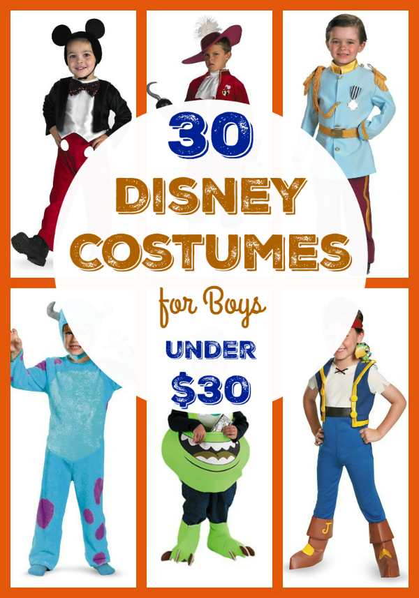 Costumes are not just for Halloween! Boys love playing dress-up, too! We're sharing 30 Disney costumes for boys that are under $30!