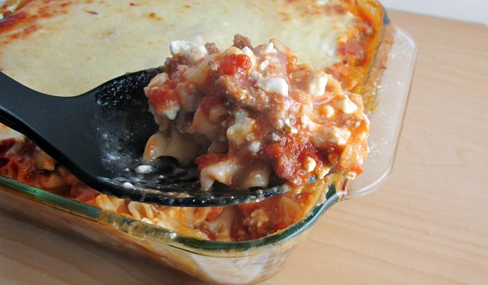Favorite Lasagna Casserole Scooped