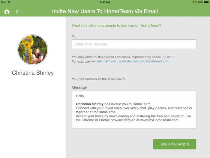 send invites HomeTeam