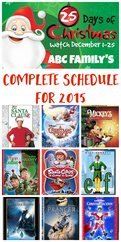 abc family 25 days of christmas movies schedule 2015 check out the full list of - Abc 25 Days Of Christmas